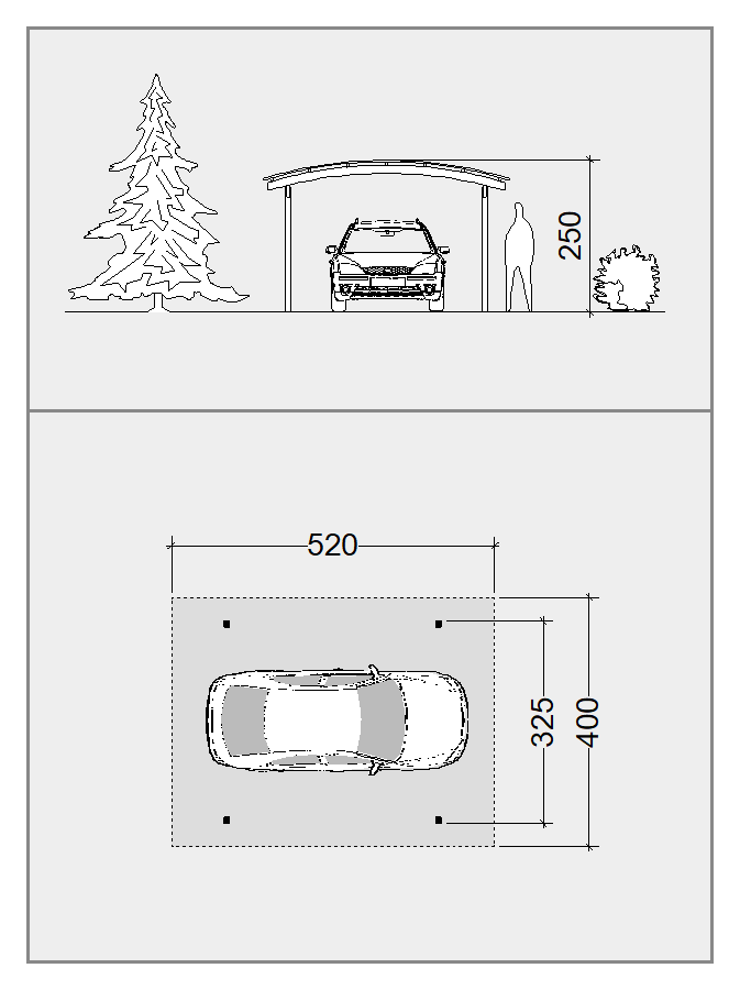 dobbelt carport med buet tag